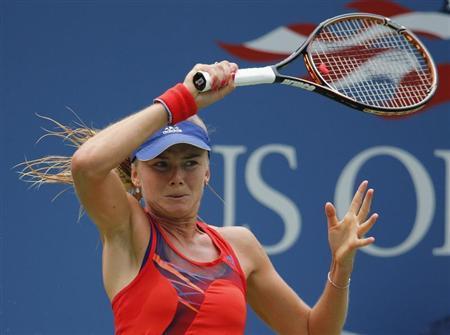 Daniela Hantuchova of Slovakia returns to Alison Riske of the U.S. at the U.S. Open tennis championships in New York September 2, 2013. REUTERS/Ray Stubblebine