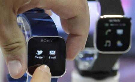 Sony's SmartWatch is on display during a press preview day before the official start of the IFA consumer electronics fair in Berlin, August 30, 2012. REUTERS/Tobias Schwarz/Files