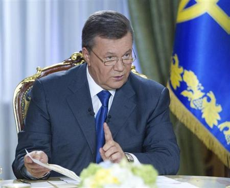 Ukrainian President Viktor Yanukovich speaks during a television interview in Kiev in this August 29, 2013 picture provided by the Ukraine Presidential Press Service. REUTERS/Mykhailo Markiv/Presidential Press Service/Handout via Reuters