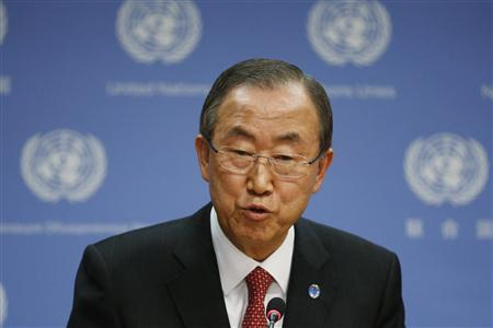 United Nations Secretary-General Ban Ki-moon speaks during a news conference at the U.N. Headquarters in New York, September 3, 2013. REUTERS/Brendan McDermid