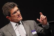 Patrick Odier, Chairman of the Swiss Bankers Association and Senior Partner of private bank Lombard Odier (LODH) gestures during the Capital Market Forum in Zurich September 3, 2012. REUTERS/Michael Buholzer