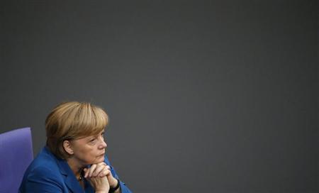German Chancellor Angela Merkel attends a debate of the lower house of parliament Bundestag in Berlin September 3, 2013. REUTERS/Fabrizio Bensch