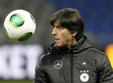 Germany's national football team head coach Joachim Loew attends a training session ahead of their 2014 World Cup qualifying soccer match against Kazakhstan in Astana March 21, 2013. REUTERS/Shamil Zhumatov