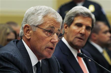 U.S. Secretary of Defense Chuck Hagel (L) testifies alongside Secretary of State John Kerry at a U.S. House Foreign Affairs Committee hearing on Syria on Capitol Hill in Washington, September 4, 2013. REUTERS/Jason Reed