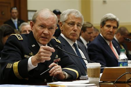 (L-R) U.S. General Martin Dempsey, chairman of the Joint Chiefs of Staff, U.S. Secretary of Defense Chuck Hagel and U.S. Secretary of State John Kerry testify at a U.S. House Foreign Affairs Committee hearing on Syria on Capitol Hill in Washington, September 4, 2013. REUTERS/Jason Reed