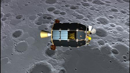 An artist's concept of NASA's Lunar Atmosphere and Dust Environment Explorer (LADEE) spacecraft seen orbiting near the surface of the moon. REUTERS/NASA Ames/Dana Berry/Handout