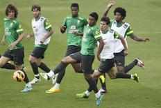 Jogadores do Brasil treinam para amistoso contra a Austrália nesta quarta-feira. REUTERS/Ueslei Marcelino