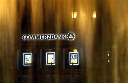 The logo of Germany's Commerzbank is pictured behind a fountain in Frankfurt May 10, 2013. REUTERS/Lisi Niesner