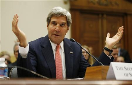 U.S. Secretary of State John Kerry testifies at a U.S. House Foreign Affairs Committee hearing on Syria on Capitol Hill in Washington, September 4, 2013. REUTERS/Jason Reed