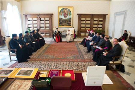 Pope Francis listens to a speech during a private audience with Baselios Mar Thoma Paulose II, Catholicos of the East & Malankara Metropolitan of the Malankara Orthodox Syrian Church, at the Vatican September 5, 2013. REUTERS/Osservatore Romano