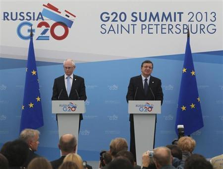 European Council President Herman Van Rompuy (L) and European Commission President Jose Manuel Barroso attend a briefing at the G20 Summit in St. Petersburg September 5, 2013. REUTERS/Mikhail Kireev/RIA Novosti/Pool