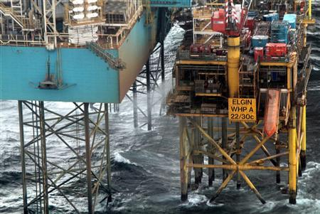 The Elgin platform in the North Sea is seen in this undated photograph received in London on March 30, 2012. Total said the photograph was taken on March 29, 2012. REUTERS/Total E&P/Handout/Files