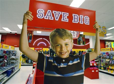 A signage offering big savings in the back to school supply department is pictured at a Target store in Los Angeles, California August 18, 2009. REUTERS/Fred Prouser