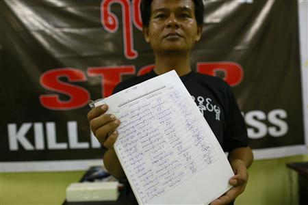A reporter shows signatures they collected in support of the freedom press law in the Myanmar Journalist Network office in Yangon September 3, 2013. REUTERS/Soe Zeya Tun