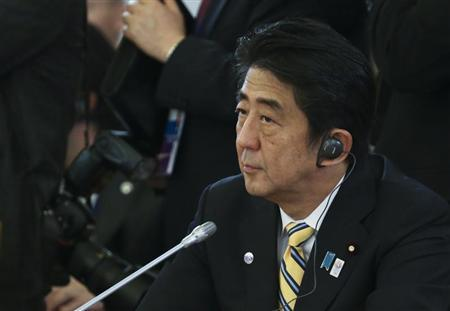 Japanese Prime Minister Shinzo Abe attends the first working session of the G20 Summit in Constantine Palace in Strelna near St. Petersburg, September 5, 2013. REUTERS/Sergei Karpukhin