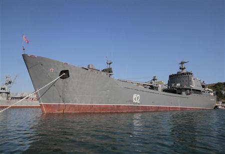 Russian Navy amphibious landing vessel ''Nikolai Filchenkov'' is docked at the Ukrainian Black Sea port of Sevastopol, June 19, 2012. REUTERS/Stringer