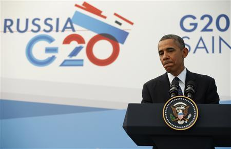 U.S. President Barack Obama speaks during a news conference at the G20 Summit in St. Petersburg September 6, 2013. Obama defied pressure to abandon plans for air strikes against Syria at a summit on Friday which left world leaders divided on the conflict but united behind a call to spur economic growth. REUTERS/Kevin Lamarque