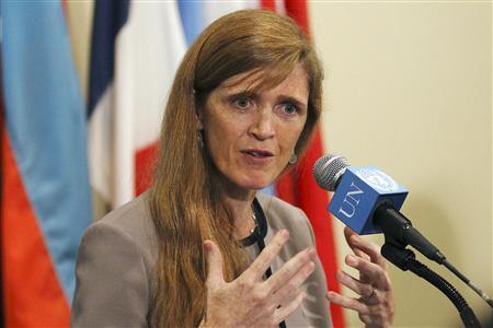U.S. Ambassador Samantha Power speaks to the press following a the United Nations Security Council meeting at the United Nations Headquarters in New York, September 5, 2013. REUTERS/Brendan McDermid