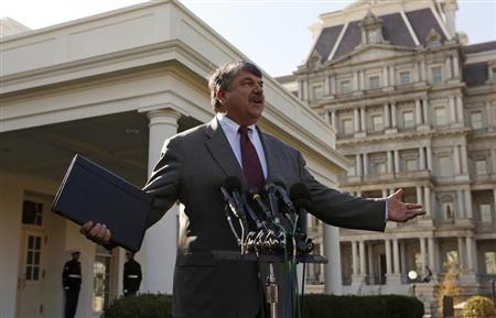 AFL-CIO President Richard Trumka talks to reporters at the White House after a meeting between U.S. President Barack Obama and leaders from the labor community and other progressive leaders to discuss the economy and deficit in Washington November 13, 2012. REUTERS/Kevin Lamarque