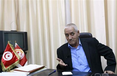 Hussein Abassi, head of Tunisia's UGTT union federation, speaks during an interview with Reuters in Tunis August 16, 2013. REUTERS/Anis Mili
