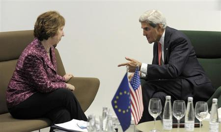 U.S. Secretary of State John Kerry (R) meets with European Union High Representative Catherine Ashton before a meeting of EU ministers of foreign affairs at the National Gallery of Art in Vilnius September 7, 2013. REUTERS/Susan Walsh/Pool