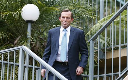 Australia's conservative leader and Prime Minister-elect Tony Abbott leaves his house in Sydney September 8, 2013. REUTERS/Daniel Munoz