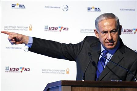 Israel's Prime Minister Benjamin Netanyahu gestures during his speech at the inauguration ceremony of a hi-tech industry park in the southern city of Beersheba September 3, 2013. REUTERS/Amir Cohen