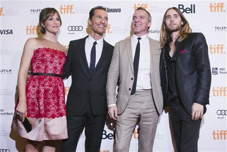 Director Jean-Marc Vallee (2nd R) with cast members Jennifer Garner (L), Matthew McConaughey (2nd L) and Jared Leto arrive for the ''Dallas Buyers Club'' film screening at the 38th Toronto International Film Festival in Toronto, September 7, 2013. REUTERS/Mark Blinch