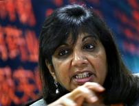 Kiran Mazumdar-Shaw, chairman and managing director of Biocon Ltd, speaks during the Reuters India Investment Summit in Bangalore in this December 6, 2007 file photo. REUTERS/Arko Datta/Files