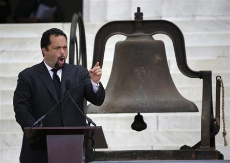 Benjamin Jealous, president and CEO of NAACP, speaks during a ceremony marking the 50th anniversary of Martin Luther King's ''I have a dream'' speech on the steps of the Lincoln Memorial in Washington, August 28, 2013. REUTERS/Jason Reed