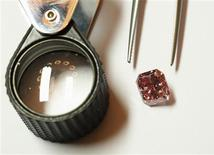A Rio Tinto pink diamond is displayed along with tweezers and a magnifier in Hong Kong September 6, 2013. REUTERS/Bobby Yip
