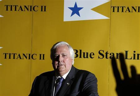 Australian billionaire Clive Palmer speaks at a news conference to announce his plan to build Titanic II, a modern replica of the doomed ocean liner, at the Ritz in central London March 2, 2013. Reuters/Olivia Harris