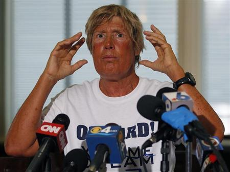 U.S. long-distance swimmer Diana Nyad, 64, who completed her swim from Cuba to Key West, Florida, yesterday, speaks at a news conference on Stock Island, September 3, 2013. REUTERS/Andrew Innerarity