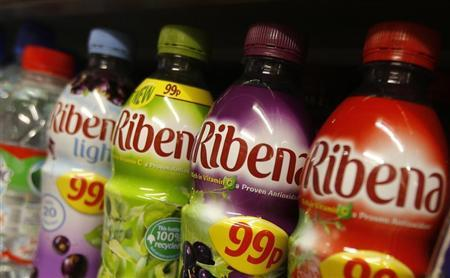 Ribena drinks bottles are displayed on a shelf in a shop in London April 24, 2013. REUTERS/Suzanne Plunkett