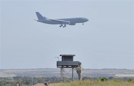 An AirTanker Airbus Voyager aircraft prepares to land at a British base at Akrotiri, near the city of Limassol, in Cyprus August 29 2013. REUTERS/Yiannis Nisiotis