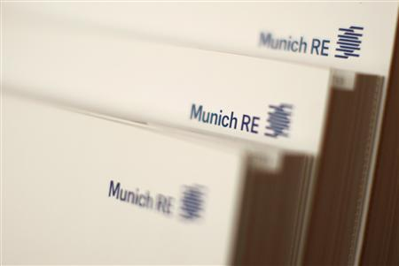 File photo of books of world's biggest reinsurer, Munich RE (Muenchener Rueck) pictured in a Munich Re office building in Munich November 5, 2012. REUTERS/Michaela Rehle/Files