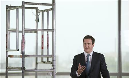 Britain's Chancellor of the Exchequer George Osborne speaks at a construction site where offices and affordable homes are being built in east London September 9, 2013. REUTERS/Stefan Rousseau/pool