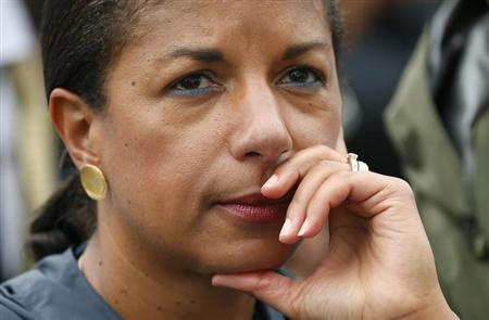 U.S. National Security Advisor Susan Rice looks up during the commemoration ceremony for the 50th anniversary of the March on Washington and Rev. Martin Luther King Jr.'s ''I have a dream'' speech at the Lincoln Memorial in Washington August 28, 2013. REUTERS/Kevin Lamarque/Files