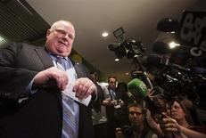 Toronto Mayor Rob Ford holds a news conference at City Hall in Toronto, May 30, 2013. REUTERS/Mark Blinch