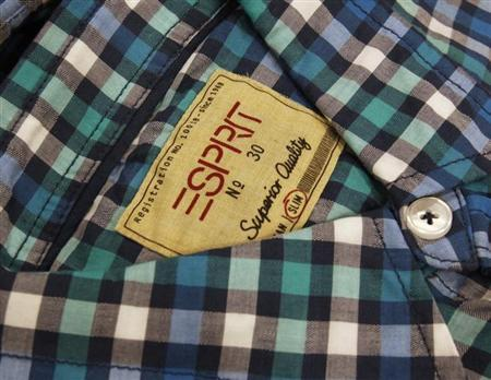 A shirt made by Esprit is displayed at one of its outlets in Hong Kong August 7, 2012. REUTERS/Bobby Yip