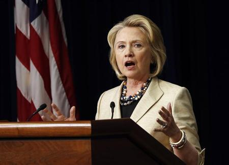 Former U.S. Secretary of State Hillary Clinton talks about Syria during an event at the White House in Washington, September 9, 2013. REUTERS/Kevin Lamarque