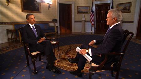 CBS Evening News anchor and managing editor Scott Pelley interviews U.S. President Barack Obama at the White House in Washington September 9, 2013. REUTERS/CBS News/Handout via Reuters
