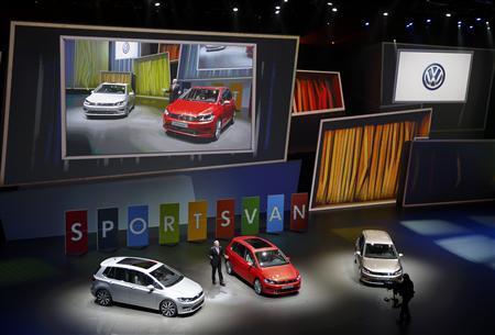 Hans-Jakob Neusser, Chief developer of Volkswagen AG presents the new ''Sports Van'' during the Volkswagen group night at the Frankfurt motor show September 9, 2013. REUTERS/Kai Pfaffenbach