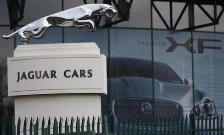 The Jaguar emblem is seen at the gates of its Castle Bromwich plant in Birmingham, central England February 23, 2008. REUTERS/Darren Staples/Files