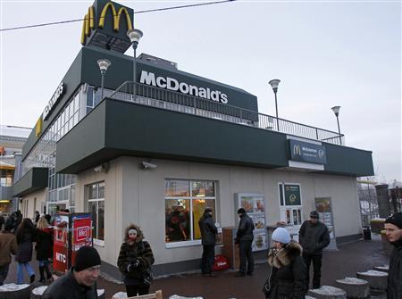 A McDonalds restaurant is seen near the central railway station in Kiev February 16, 2012. REUTERS/Gleb Garanich