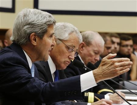 U.S. Secretary of State John Kerry (L-R), Defense Secretary Chuck Hagel and Chairman of the Joint Chiefs of Staff U.S. Army General Martin Dempsey testify at the House Armed Services Committee in Washington September 10, 2013. REUTERS/Gary Cameron