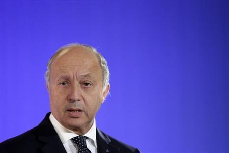 French Foreign Affairs Minister Laurent Fabius attends a news conference with U.S. Secretary of State John Kerry at the Quai d'Orsay Foreign Ministry after their meeting in Paris September 7, 2013. REUTERS/Jacky Naegelen