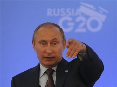 Russian President Vladimir Putin speaks to the media during a news conference at the G20 summit in St.Petersburg September 6, 2013. REUTERS/Alexander Demianchuk