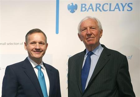 Barclays Bank Chairman David Walker (R) and Chief Executive Antony Jenkins pose for a photograph before the Annual General Meeting at the Royal Festival Hall in London April 25, 2013. REUTERS/Andrew Winning