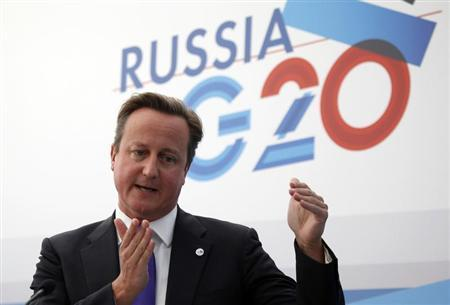 British Prime Minister David Cameron speaks during a news conference at the G20 summit in St. Petersburg September 6, 2013. REUTERS/Grigory Dukor